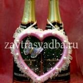 Украшения на связку бутылок сердце